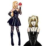 Amane Misa Disfraz Cosplay Anime japonés Death Note Disfraz Cosplay Misa Amane Uniforme Negro Falda de PU + Guantes de Encaje + Calcetines de Encaje + Conjunto Completo de Cuello Sexy Traje Vestir