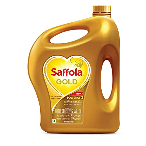 Saffola Gold Refined Cooking oil   Blended Rice Bran & Sunflower oil   Helps Keeps Heart Healthy   2 Litre jar