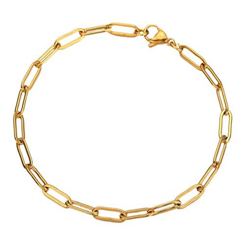 Luoem - Pulsera para mujer chapada en oro delicado, cadena y pulsera apilable, joya para mujer