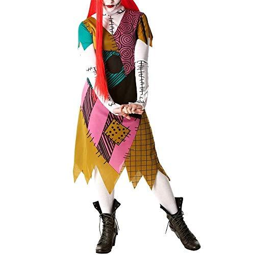 Disfraz de Cosplay de Halloween Pesadilla Antes de Navidad Sexy Sally Vestido de Manga Larga para Mujer