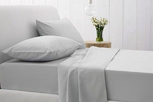 passt bis zu 50,8cm Extra tief Tasche massiv Muster 100% ägyptische Baumwolle Fadenzahl 500Hervorragende Betten Blatt erhältlich in 5Größen und 30Farben., baumwolle, hellgrau, 4 PC Sheet Set Queen
