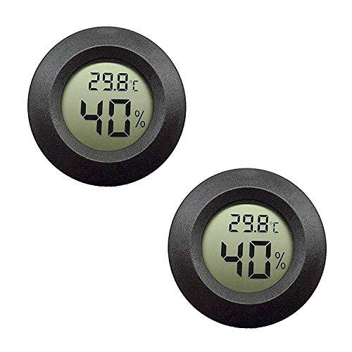 DollaTek 2Pcs Mini Digital LCD Temperatur-Feuchtigkeitsmesser Thermometer Hygrometer Round - Schwarz
