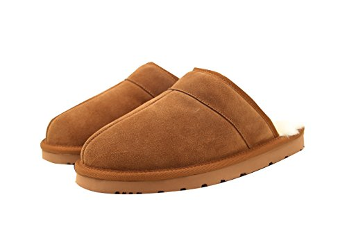 SUPERLAMB Mens Sheepskin Hard Sole Clog Slippers (M (9))