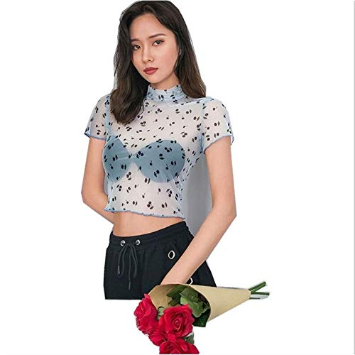 Summer Brand New Women Sheer Mesh Fish Net Korte mouwen coltrui See Through Cherry bloemenprint Blue Korte T-shirt