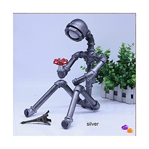 XYUfly20 Luz De Escritorio Steampunk Lámpara De Mesa Robot De Hierro Creativa Lámparas De Mesa De Fontanería De Dormitorio Creativas E Interesantes, Bares, Restaurantes (excluidas Las Bombillas)