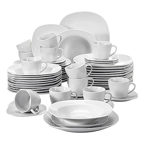 MALACASA, Serie Elisa, 60 TLG. Set Tafelservice Porzellan Kombiservice mit 12 Kaffeetassen, 12 Untertassen, 12 Dessertteller, 12 Suppenteller und 12 Essteller
