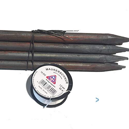Dalhoff, 10 St.Schnureisen 1 m, Ø 18 mm, Schnurnagel, Schnurpfahl, Schnurstange, Schnurpinne geschmiedet mit Spitze