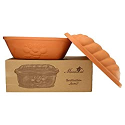 MamboCat Terrakotta-Topf Berti zur Brot-Aufbewahrung I 100% Natur Ton-Behälter mit Deckel hält Toast & Brötchen länger frisch I Ton Brotbox großer Keramik-Brotkasten unglasiert 16,5X 24,3X 36cm