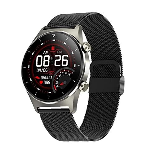 Eaarliyam Reloj Inteligente Pantalla Redonda Reloj de Pulsera GPS Soporte podómetro Pulsera de Acero Inteligente marrón