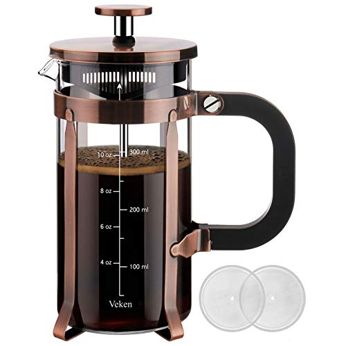 Veken French Press Coffee Maker (12oz), 304 Stainless Steel Coffee Press with 4 Filter Screens, Durable Easy Clean Heat Resistant Borosilicate Glass - 100% BPA Free