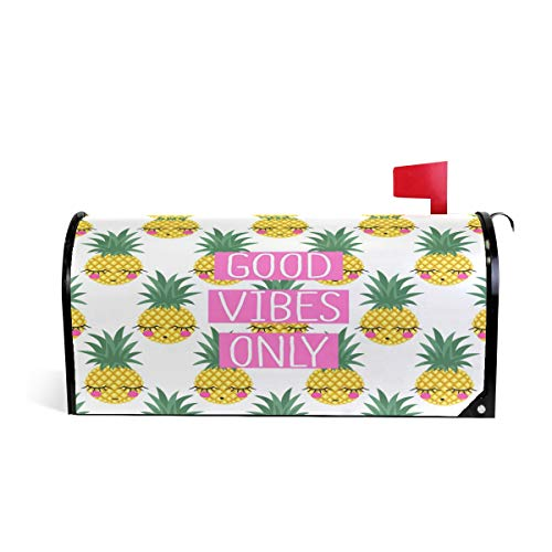 ZZKKO ananas goede Vibes alleen magnetische brievenbus Cover Wrap Post Brievenbus Cover voor buiten Tuin Home Decor groot formaat 25,5 x 20,8 Inch 25.5