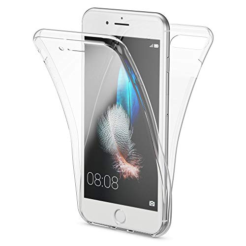 NALIA Funda 360 Grados Compatible con iPhone 7 Plus / 8 Plus, Delantera Trasera Protectora Movil Silicona Carcasa, Ultra-Fina Gel Transparente Doble Cubierta Bumper Cover Case, Color:Transparente