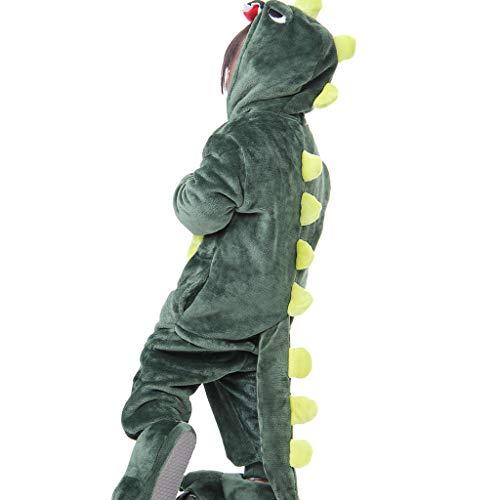 Ensembles de pyjama Pyjamas d'automne et d'hiver Pyjamas bébé Homme et Femme Pyjama Siamois Dinosaure Enfant (Color : Green, Size : 120cm (Height 115-125cm))