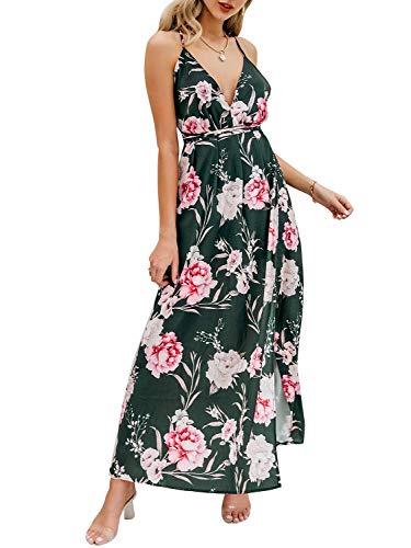 BerryGo Women's Sexy Deep V Neck Backless Floral Print Split Maxi Party Dress Green