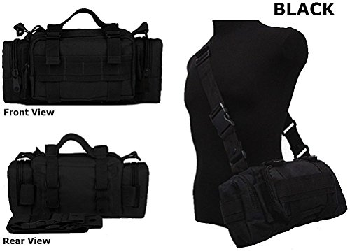 Ultimate Arms Gear Stealth Black Heavy Duty Combat Multi-Functional Equipment Survival Assault Transport Medium Deployment Compatible Pistol Gun Camera Electronic Devices Bag with Adjustable Slip Shoulder Detachable Length Straps MOLLE Modular PALS Attachment System Shooting Range Military Army Patrol Paintball Hunting Camping Law Enforcement Travel Vacation Heavy Duty Patrol Gear Pack DB4