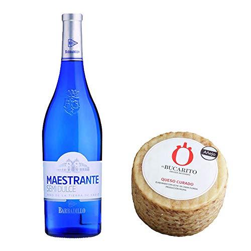 Pack de Vino blanco Maestrante y Queso Curado Añejo Pasteurizado - Vino de 75 cl y Queso de 800 g aprox - Mezclanza