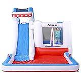 PLAY4FUN Castillo Hinchable acuático para niños - 4,80m - con tobogán y Piscina - Sharky Bay