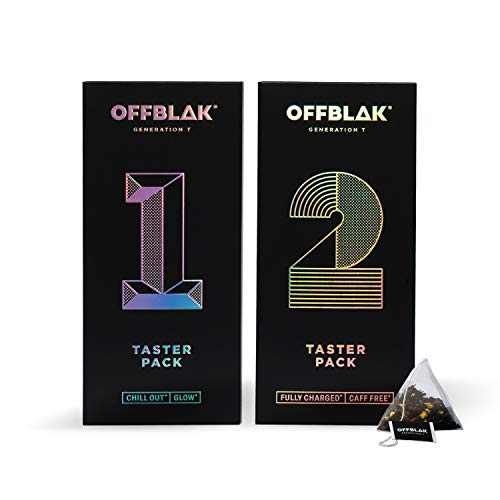 OFFBLAK Tea Discovery Set - Assorted Tea Sample Gift Box   Unique 12 Tea Flavours (24 Tea Bags, 30g)   Black, Green, Rooibos, Fruit and Herbal Loose Leaf Pyramid Tea Bags