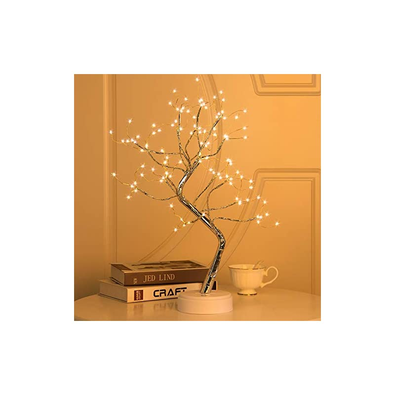 """silk flower arrangements 20"""" 108led firefly bonsai tree lights artificial fairy tree usb/battery-powered touch switch white warm lights tree lamp for bedroom desktop christmas party indoor decoration lights"""