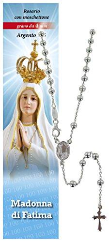 Rosario Virgen de Fátima de plata 925 con cuentas de Ø 4 mm y oración en italiano