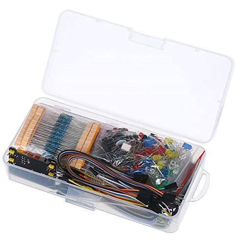 Mefeny Kit de diversión de componentes electrónicos, con módulo de potencia, cable de puente, placa de ensayo de conexión 830, potenciómetro de precisión, resistencia