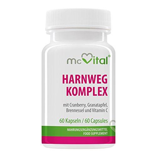 HarnWeg Komplex - mit Cranberry, Granatapfel, Brennnessel und Vitamin C - 60 Kapseln
