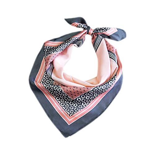 Qinlee Damen Halstuch Vintage Printed Bandana Seidentuch Herbstschal Kleiner Quadratische Schal Mädchen Kopftuch Stirnband Schnupftuch Halstücher (Rosa)