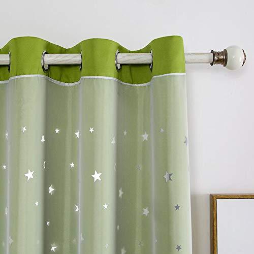 HONGBI Doppelschicht Blackout Vorhänge,Blickdicht Openwork Stars Vorhänge Prinzessin Stil Bedruckter Vorhang für Schlafzimmer Wohnzimmer Kinderzimmer,2 Panels Hohlsternvorhang mit Garn E 2x132x213CM