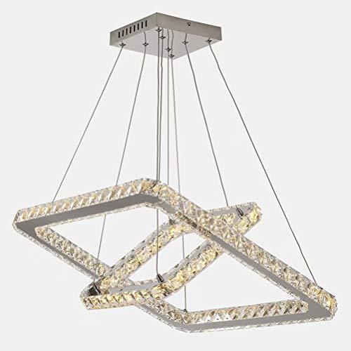 JAHQ 54W Candelabros de cristal modernos Candelabro LED Luces colgantes Candelabro cuadrado de acero inoxidable, candelabro de cristal de 2 capas Para sala de estar dormitorio (luz cálida, 3000K)