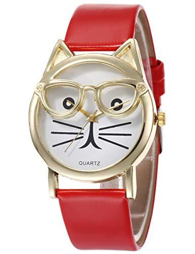 Reloj de Mujer, Bonito Reloj de Mujer con Gato, Relojes Impermeables de Cuero Genuino, Bonito Reloj de Vestir para Adolescentes, Reloj de Pulsera analógico de Cuarzo Dorado