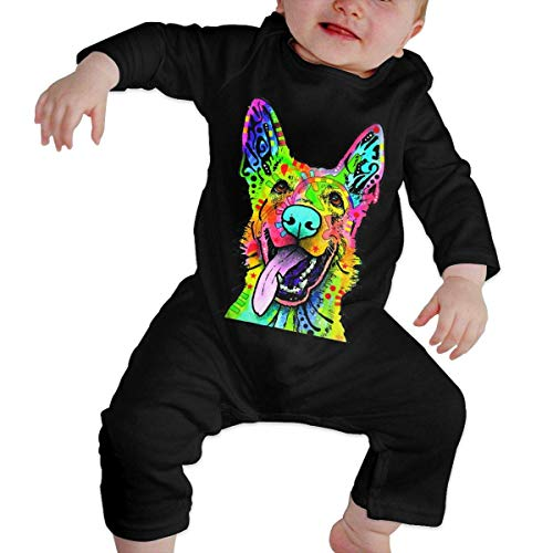GLGFashion Unisex German Shepherd Newborn Baby 6-24 Months Baby Climbing Clothing Baby Long Sleeve Garment Black Babyspielanzug Bodys Overalls