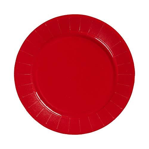 Le Nappage - Assiettes en Carton Recyclé - Couleur Rouge - Diamètre 23 cm - Lot de 20 Assiettes Jetables en Carton Rigide