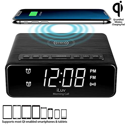 iLuv Morning Call 4Q Wireless Charging Alarm Clock with Qi-Certified LED White Display, Dual Alarm, FM Radio, Sleep Timer, 3-Level Dimmer, Wood Design; Compatible with iPhone, Samsung Galaxy & AirPod