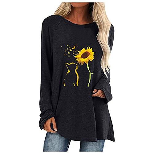 Tops Loose Fit, dameskleding, damesmode plus size tops lange mouwen O-hals T-shirts print losse blouse voor dames, overhemden voor dames, zwart, S