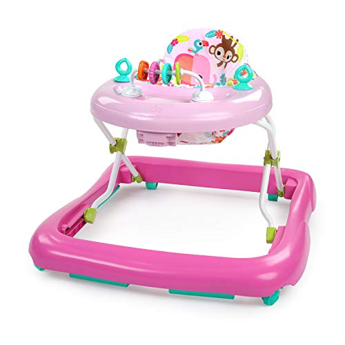 Bright Starts Floral Friends Walker with Easy Fold Frame for Storage, Ages 6 months Plus