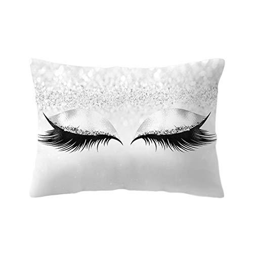 Ncbvixsw 2019 Funda de almohada con purpurina para maquillaje, sombra de ojos y pestañas largas, decorativa, color melocotón, rectangular, terciopelo, cama de 30 x 50 cm