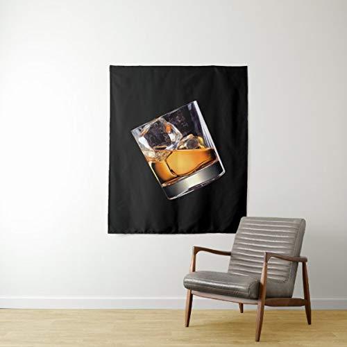 Tapiz de pared mediano Whisky On The Rocks para colgar en la pared, gran tapiz psicodélico, decoración de dormitorio, sala de estar, dormitorio de 129,5 x 149,9 cm
