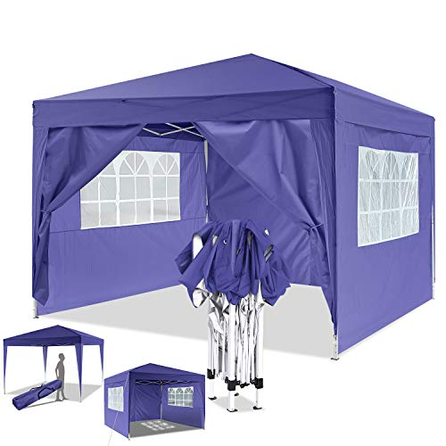 Eloklem Gazebos 3x3m/3x6m Waterproof Pop up Tent Shade Shelters With Walls for Party Wedding Ceremony (3x3m, A_Purple)