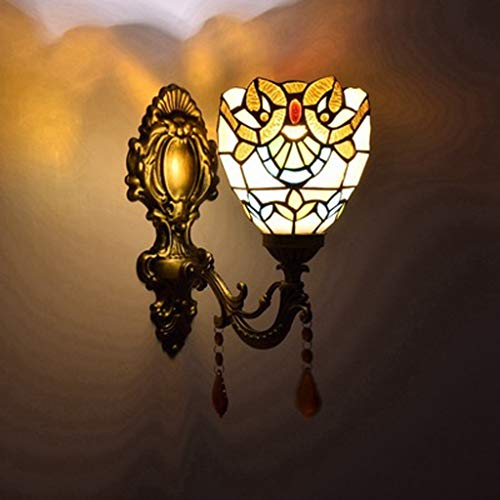 Wandlamp, Amerikaanse stijl, kleur kristal, barok, tiffany, woonkamer, slaapkamer, nachtkastje, exquisiet, mooie wandlamp