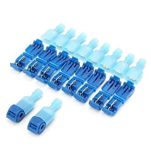 DEFTSHEEP Conectores de cable eléctrico rápido con cierre de empalme a presión, conector de alambre de crimpado, conector eléctrico impermeable (color azul, tamaño: 50 unidades (25 juegos))