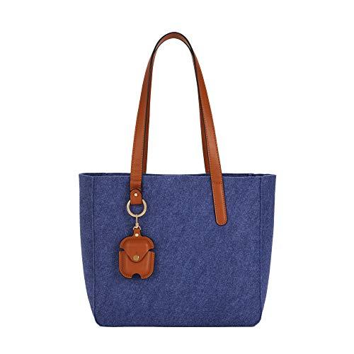 Parfois - Bolso Shopper De Fieltro - Mujeres - Tallas M - Azul Marino