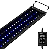 NICREW Saltwater Aquarium Light, Marine LED Fish Tank Light for Coral Reef Tanks, 2-Channel Timer Included, 36 to 48-Inch, 38-Watt