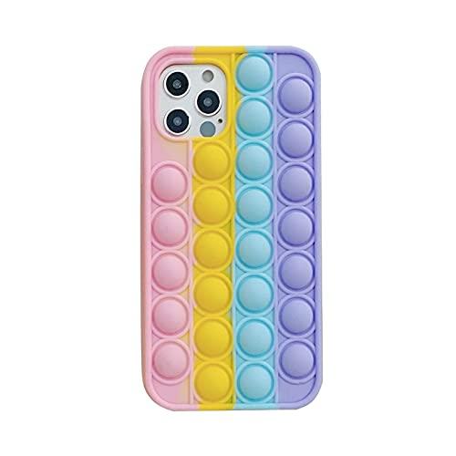 ZYuan Fidget Toys Funda para Teléfono Compatible con iPhone 7,8,6s,7P,8P,X,XS, XR,XS MAX,12,12 Pro,12 MAX,11,11 MAX,11 Pro,12 Mini 3D Rainbow Funda Silicona Suave Push Pop Bubble Funda Protectora