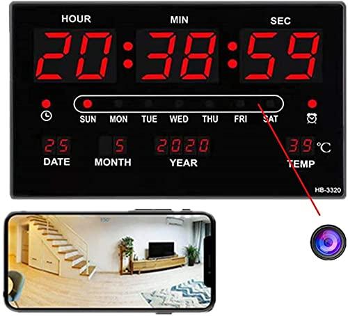 CXSMKP Cámara Oculta con Reloj Digital WiFi, Cámara De Vigilancia De Seguridad Inalámbrica HD 1080P, Detector De Movimiento Y Visión Nocturna, Compatible con iOS/Android
