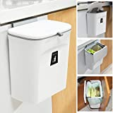 Tiyafuro 2.4 Gallon Kitchen Compost Bin for Counter Top or Under Sink, Hanging Small Trash Can with Lid for Cupboard/Bathroom/Bedroom/Office/Camping, Mountable Indoor Compost Bucket, White