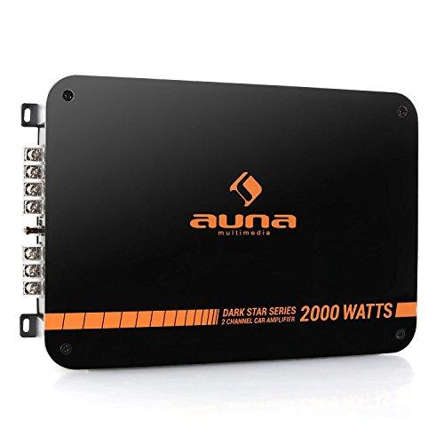 auna Dark Star 2000 HiFi Verstärker mit 2000 Watt, New Edition, 2-Kanal Auto-Endstufe, Car Amplifier, brückbar, zahlreiche Features, Metall-Chassis, 2/1-Kanal Betrieb, Tiefpass-Filter, orange-schwarz
