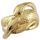 指輪 スネークリング 双頭の蛇 イエローゴールドk18 蛇リング ピンキーリング ブラックダイヤ シトリン ダイヤモンド 18金 5