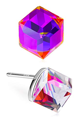 CAT EYE JEWELS Sterling Silver Simple Small Cube Cubic Zirconia Color Changing Purple Crystal Stud Earring for Women Girls