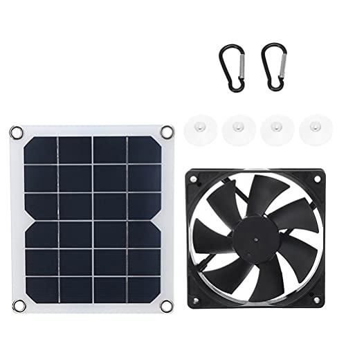 RGHS Ventilatore Estrattore Solare da 10 W, Ventilatore di Scarico per Pannello di Energia Solare da Esterno Ricarica USB, Serra, Capannone, Camper, Casa, Mini Ventilatore per Ufficio