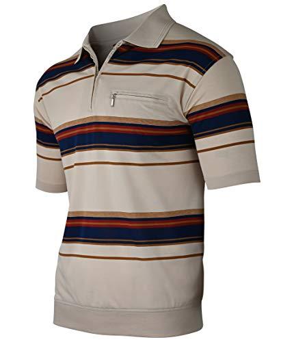 Soltice Polohemd Modern Gestreifte Poloshirt für Herren, Größe M bis 3XL (XXL, Beige)